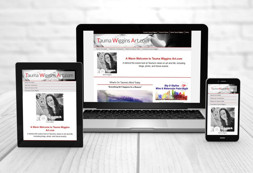 Tauma Wiggins Art blog website on multiple devices