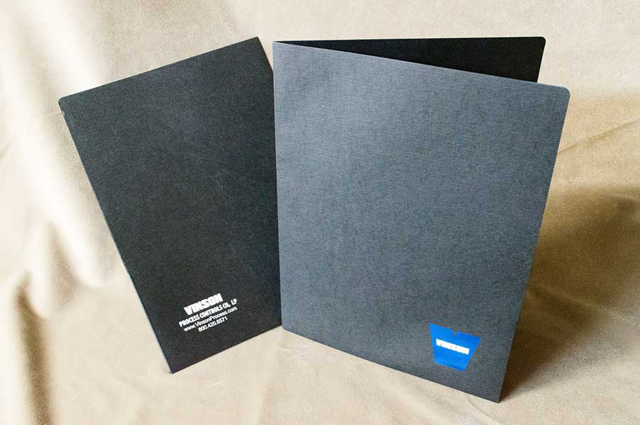 Vinson Process Control Black folders with foil stamp